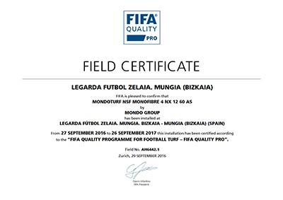Ejemplo de certificado FIFA Quality Pro. Este documento certifica la calidad del campo de Mungia (Bizkaia).