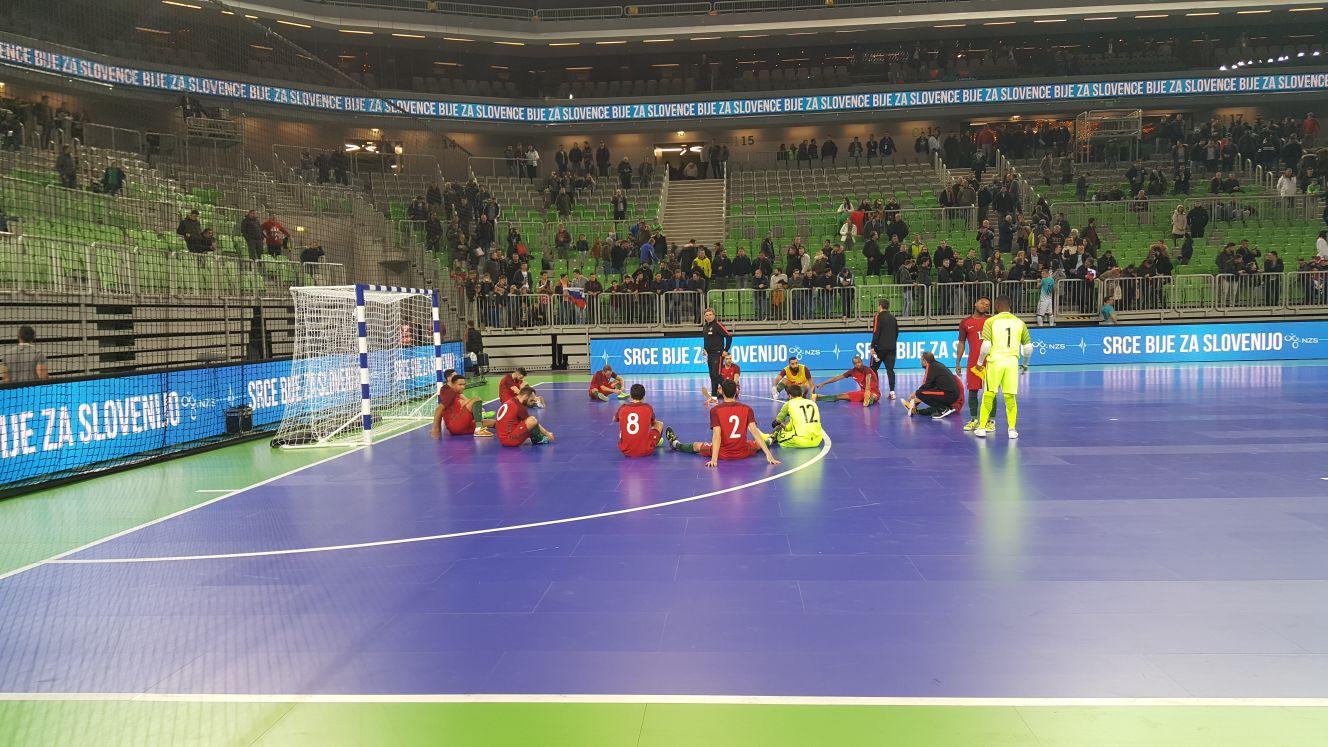 La selección portuguesa, durante el partido contra Eslovenia del pasado miércoles.