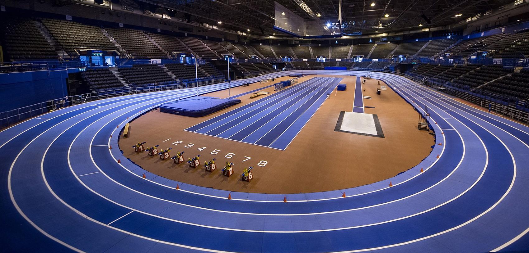 Pista de atletismo del Emirates Arena de Birmingham, donde se disputará el Campeonato del Mundo de la IAAF.