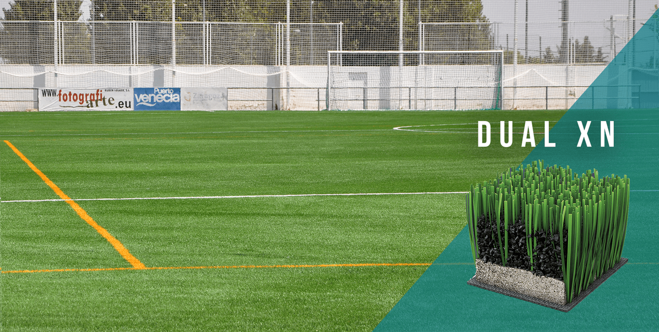 Campo municipal de fútbol José Luis Violeta (Zaragoza), ya equipado con el sistema de césped artificial DUAL XN.
