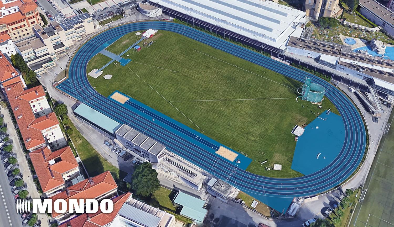 Fotomontaje de cómo quedará la pista de Larrabide tras la instalación de Sportflex Super X 720.