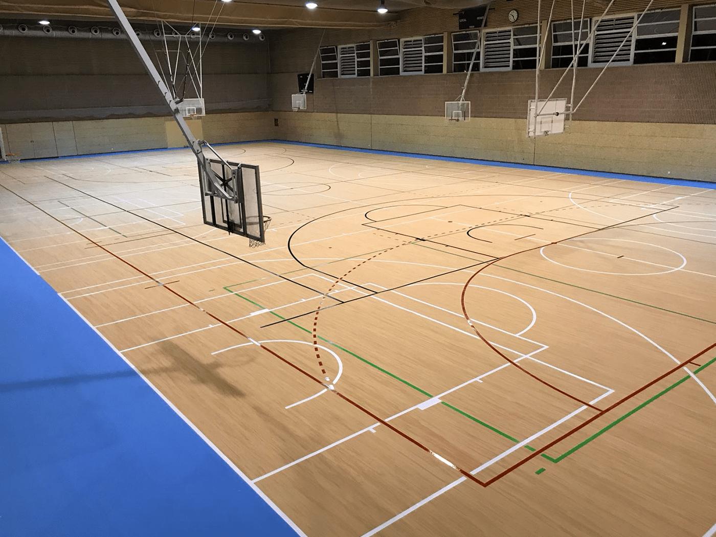 Nuevo pavimento Mondoflex II -en color madera- con Everlay, en el pabellón del Colegio San Agustín.