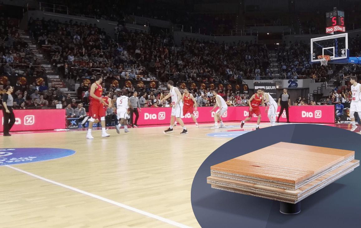 Partido de baloncesto en el Pabellón Príncipe Felipe de Zaragoza sobre Fast Break System 2 EVO.