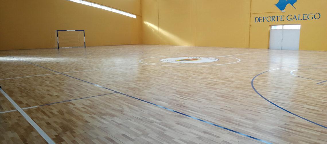 Pabellón de Guitiriz (Lugo), ya equipado con pavimento de madera de Mondo.
