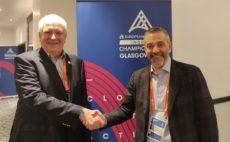 Svein Arne Hansen, presidente de European Athletics, y Maurizio Stroppiana, director general de la División Deportiva de Mondo.