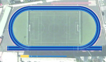 Recreación de la pista de Los Llanos de Aridane con el pavimento Sportflex Super X 720 de Mondo.