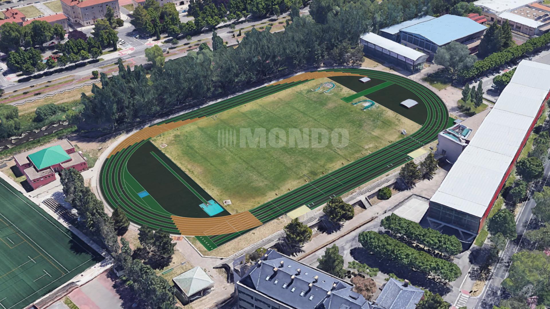 Pista de atletismo 'Purificación Santamarta', ubicada en el Complejo Deportivo San Amaro de Burgos