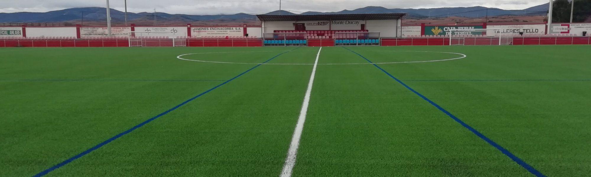 Campo de fútbol 'La Platera' de Cariñena (Zaragoza), equipado con césped artificial de Mondo